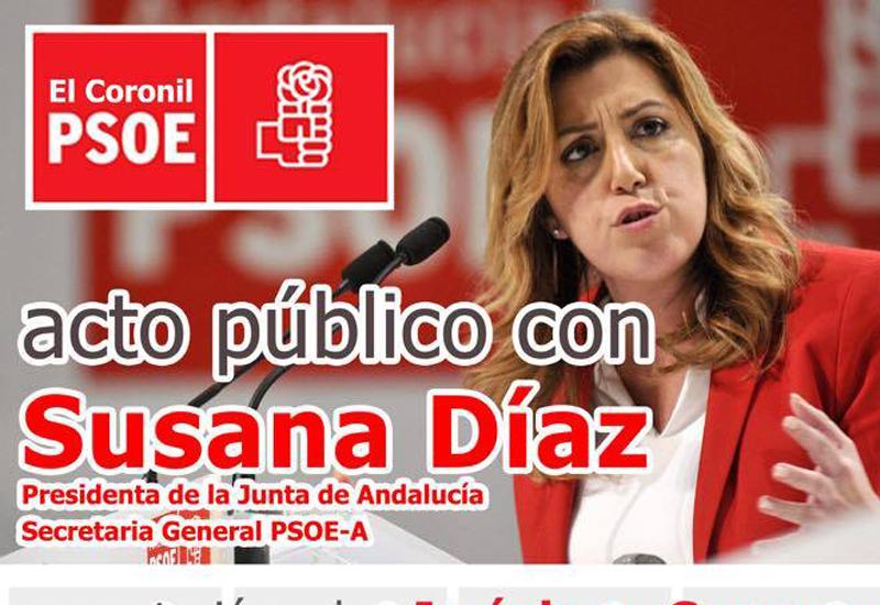 Susana Díaz presidirá el acto de presentación de Jerónimo Guerrero como candidato a la Alcaldía de El Coronil