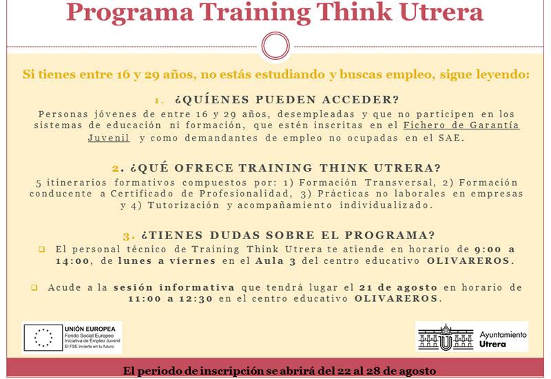EL AYUNTAMIENTO DE UTRERA BUSCA 18 DOCENTES PARA EL DESARROLLO DEL PROGRAMA TRAINING THINK