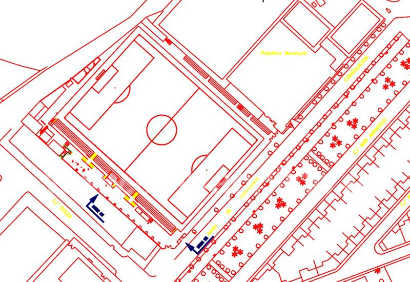 Imagen adjunta a la licitación sobre los planos del San Juan Bosco. Las salidas (en amarillo) estarían en la zona que da a la feria