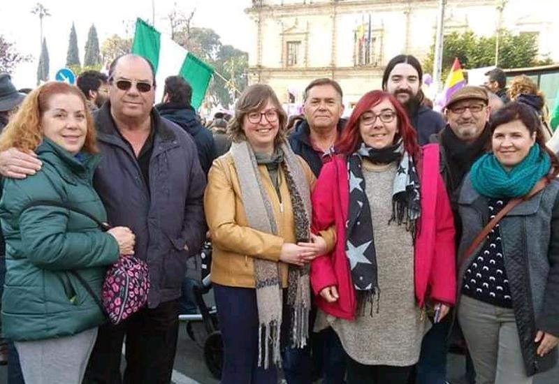 PODEMOS, PARTIDO COMUNISTA Y EQUO UTRERA MARCHARON JUNTOS EN LA PROTESTA FEMINISTA ANTE EL PARLAMENTO DE ANDALUCÍA